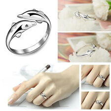 Fashion 925 Sterling Silver Double Dolphin Opening Adjustable Ring