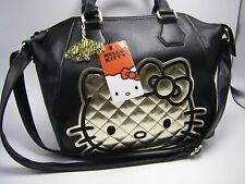 NWT LOUNGE FLY HELLO KITTY Black & Gold Quilting Medium Satchel Bag + Bag Charm