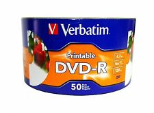 1000 VERBATIM Blank DVD-R DVDR 16X 4.7GB White Inkjet Hub Printable EXPEDITED
