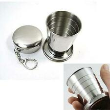 Stainless Portable Collapsible Folding Drink Cup Outdoor Travel Camping Keychain