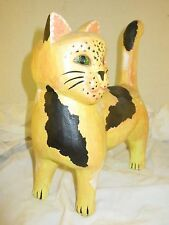 large HAND CARVED WOOD  FOLK ART GREEN EYED CAT KITTEN  HALLOWEEN HAND PAINTED