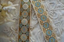 1y VTG REVERSIBLE BLUE FLORAL DECO WOVEN JACQUARD SATIN RIBBON TRIM FRENCH DOLL