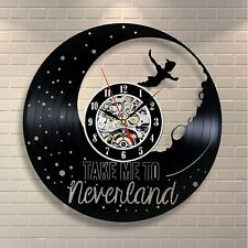 Peter Pan Disney Neverland Wendy Tinkerbell Vinyl Clock Home Decor