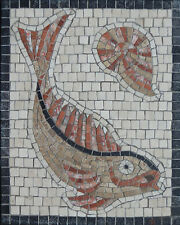 Roman style mosaic kit in natural stone - Fish & shell designed by Martin Cheek