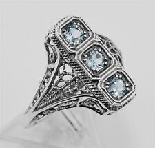 Antique Style 3 Stone Blue Topaz Filigree Ring - Sterling Silver Size 7