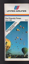 United Airlines Our Friendly Times Schedule June 1 1982