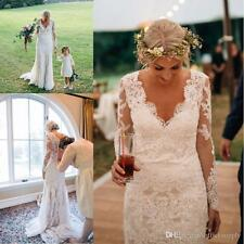 Custom Size 2017 New Modest V Neck White Ivory Lace Wedding Dress Bridal