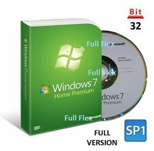 Microsoft Windows 7 Home Premium 32-bit SP1 Full Version License COA Product Key