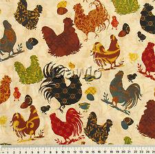 Hühner, Hahn, Kücken, cream, Landhausstil, Patchwork, Deko, Stoff, (25x110cm)