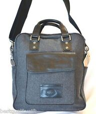 NEW FOSSIL GREY,GRAY WOOL+BLACK LEATHER TRANSIT VERTICAL BRIEFCASE,CROSSBODY,BAG