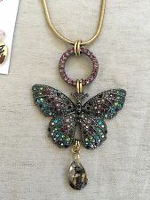 Betsey Johnson Butterfly Effect Pendant Gold Tone Necklace Multi- Color Crystals