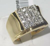 2W075 MANS 16 stone  SIMULATED DIAMONDS MENS RING ALL SIZES SIGNET PINKY