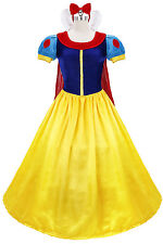 Snow White Costume Adult Fairytale Princess Halloween Fancy Dress Cosplay Gown M