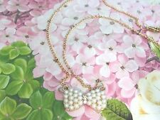 Delicate Imitation Pearl Necklace Bowknot Gold Tone Jewelry Necklace