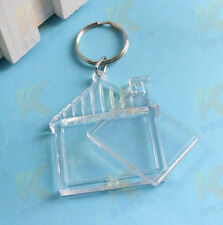 3Pcs House Transparent Blank Insert Photo Picture Frame Keyring Keyfob Keychain