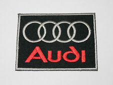 MOTORSPORTS MOTOR RACING SEW ON / IRON ON PATCH:- AUDI (f) BLACK SQUARE RINGS