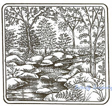 Stream Rocks Trees Scene Wood Mounted Rubber Stamp NORTHWOODS - New, PP9111