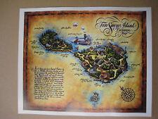 """Disney Tom Sawyer Island Map 11"""" x 13.5""""   Poster  -"""