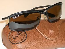 59MM RAY BAN RB3339 BLACK POLARIZED OLYMPIAN FLEX HINGES WRAP SUNGLASSES w/CASE