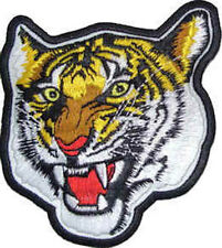Iron On/ Sew On Embroidered Patch Badge Tiger Head Yellow Tigers Big Cat