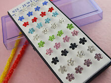 40pcs=20pairs Silver Colourful Crystal Lovely Plum flower Lady's Stud Earrings