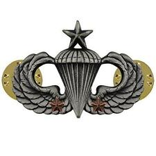 Army Badge Regulation Size  Senior Combat Parachute Second Award Silver Oxidize