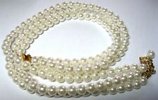 Pretty VINTAGE 1950s 3 Row Faux Pearl BEAD Choker Costume Jewellery NECKLACE