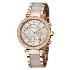New Michael Kors Parker Blush Rose Gold Chronograph Women Crystal Watch MK5896