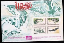 1971 FDC Fleetwood Wildlife Conservation Plate Block #1427-30 Presentation Card