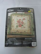 "2004 BUCILLA ""HEIRLOOM BOUQUET"" #4890 NEEDLEPOINT THROW PILLOW KIT SEALED NEW"