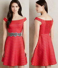 ANTHROPOLOGIE NWT Minette Dress Off-The-Shoulder Textured Red Sz 6 S Small $198