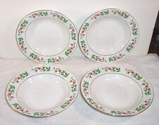 "4 Gibson China Christmas Charm Holly 8"" Soup / Cereal Bowl"