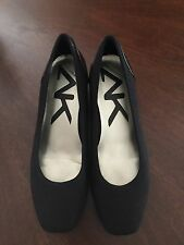 Anne Klein Sport Black Fabric & Patent Leather Toe Flats Size 7