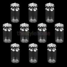 10Pcs Silver Caps Mini Clear Glass Bottles DIY Charm Wish Necklace Pendants