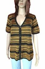 VIDI Italy Women's Black Gold Strip Short Sleeve Knit Casual Cardigan sz 16 AN12
