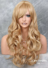 Human Hair Blend Blonde Mix Long Heat Safe Curly Layered wty wig 27-613