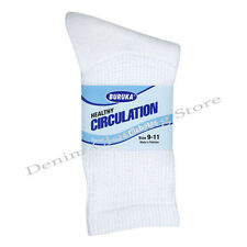 3, 6, or 12 Pairs Diabetic CREW circulatory Socks Health Men's Cotton 9-11 10-13