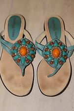 Izabella Fiore Turquoise Leather Embellished SHOES SANDALS Flip Flops 6 M