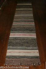 Trendy Antique Swedish Hand Made Rag Rug (25 x 133 inches)