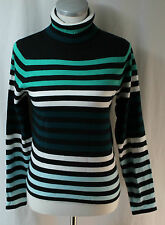 Crystal Kobe, Small Multi-green/ Black/ White Striped Turtleneck Sweater NWOT