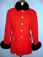Vtg Escada Long Sleeve Jacket /Coat Wool Fox Fur Collar/Cuff Slim Cut Size S /36