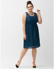 LANE BRYANT WOMEN'S BLUE SLEEVELESS LACE FIT & FLARE LINED DRESS PLUS Sz 24