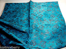 "Turquoise Red Metallic Floral Eusin Silk Blend Jacquard Fabric 92""x 44"" Korea"