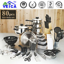 Cookware Cooking Pots And Pans Set 80 Piece Kitchen Starter Combo
