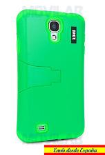 Funda Samsung I9505 / I9500 Galaxy S4 protectora / bumper con soporte verde fluo
