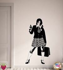 Wall Stickers Vinyl Decal School Girl With Gun Lolita Teen Gangster Sexy (z2164)