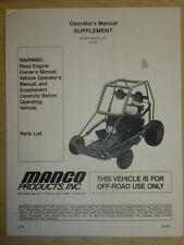 MANCO MODEL 813-00 GO KART PARTS LIST OPERATORS MANUAL CART