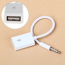 Neu 3.5mm Male AUX Audio Plug Jack to USB 2.0 Female Converter Cable Cord weiß