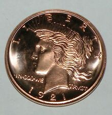 1921 Lady Liberty 1 oz of 999 fine copper coin
