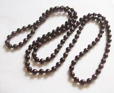 VINTAGE 1950'S BROWN EARLY PLASTIC PEARL BEADS LONG BEADED FLAPPER NECKLACE